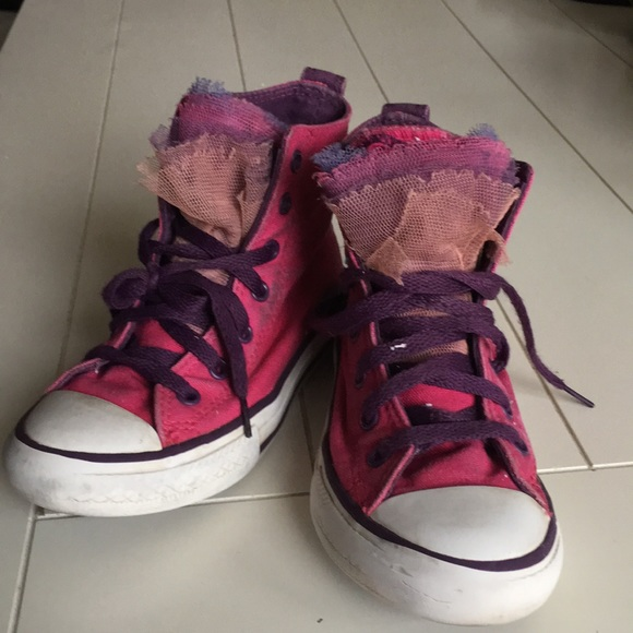 Schuh pink trainers with pearl studs VGC